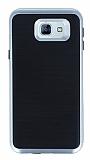 Motomo Samsung Galaxy A8 2016 Silver Kenarlı Siyah Silikon Kılıf