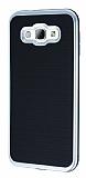 Motomo Samsung Galaxy A8 Silver Kenarlı Siyah Silikon Kılıf