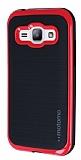 Motomo Samsung Galaxy J1 K�rm�z� Kenarl� Siyah Silikon K�l�f