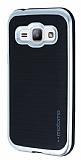 Motomo Samsung Galaxy J1 Silver Kenarlı Siyah Silikon Kılıf