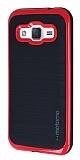 Motomo Samsung Galaxy J2 Kırmızı Kenarlı Siyah Silikon Kılıf