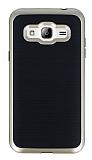 Motomo Samsung Galaxy J3 Gold Kenarlı Siyah Silikon Kılıf
