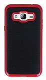 Motomo Samsung Galaxy J3 Kırmızı Kenarlı Siyah Silikon Kılıf