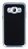 Motomo Samsung Galaxy J3 Silver Kenarlı Siyah Silikon Kılıf