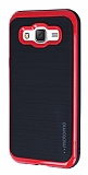Motomo Samsung Galaxy J5 Kırmızı Kenarlı Siyah Silikon Kılıf