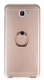 Motomo Samsung Galaxy J5 Prime Selfie Yüzüklü Metal Rose Gold Rubber Kılıf