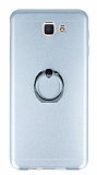 Motomo Samsung Galaxy J5 Prime Selfie Yüzüklü Metal Silver Rubber Kılıf