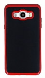Motomo Samsung Galaxy J7 2016 Kırmızı Kenarlı Siyah Silikon Kılıf