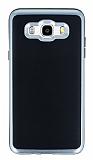 Motomo Samsung Galaxy J7 2016 Silver Kenarlı Siyah Silikon Kılıf