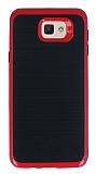 Motomo Samsung Galaxy J7 Prime Kırmızı Kenarlı Siyah Silikon Kılıf