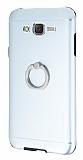 Motomo Samsung Galaxy J7 Selfie Y�z�kl� Metal Silver Rubber K�l�f