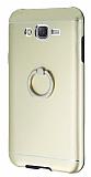 Motomo Samsung Galaxy J7 Selfie Y�z�kl� Metal Gold Rubber K�l�f