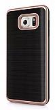 Motomo Samsung Galaxy Note 5 Rose Gold Kenarlı Siyah Silikon Kılıf