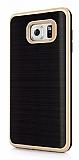 Motomo Samsung Galaxy Note 5 Gold Kenarlı Siyah Silikon Kılıf