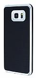 Motomo Samsung Galaxy Note 5 Silver Kenarlı Siyah Silikon Kılıf