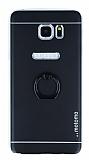 Motomo Samsung Galaxy Note 5 Selfie Yüzüklü Metal Siyah Rubber Kılıf