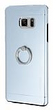 Motomo Samsung Galaxy Note 7 Selfie Yüzüklü Metal Silver Rubber Kılıf