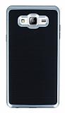Motomo Samsung Galaxy On7 Silver Kenarlı Siyah Silikon Kılıf