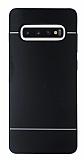 Motomo Samsung Galaxy S10 Plus Silikon Kenarlı Siyah Metal Kılıf