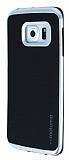 Motomo Samsung Galaxy S6 Edge Plus Silver Kenarl� Siyah Silikon K�l�f