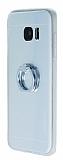 Motomo Samsung Galaxy S7 Edge Selfie Y�z�kl� Silikon Silver K�l�f