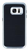 Motomo Samsung Galaxy S7 Silver Kenarlı Siyah Silikon Kılıf