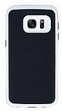 Motomo Samsung Galaxy S7 Beyaz Kenarlı Siyah Silikon Kılıf