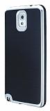 Motomo Samsung N9000 Galaxy Note 3 Silver Kenarl� Siyah Silikon K�l�f