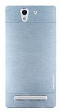 Motomo Sony Xperia C3 Metal Silver Rubber Kılıf