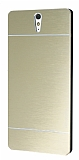 Motomo Sony Xperia C5 Ultra Metal Gold Rubber K�l�f