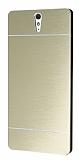 Motomo Sony Xperia C5 Ultra Metal Gold Rubber Kılıf