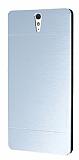 Motomo Sony Xperia C5 Ultra Metal Silver Rubber Kılıf