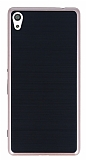 Motomo Sony Xperia XA Ultra Rose Gold Kenarlı Siyah Silikon Kılıf