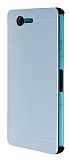 Motomo Sony Xperia Z3 Compact Slim Metal Silver Rubber Kılıf