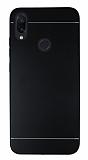 Motomo Xiaomi Redmi Note 7 Silikon Kenarlı Siyah Metal Kılıf