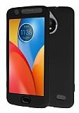 Motorola Moto E4 360 Derece Koruma Likit Siyah Silikon Kılıf