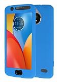 Motorola Moto E4 360 Derece Koruma Likit Mavi Silikon Kılıf