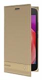 Motorola Moto E4 Plus Gizli Mıknatıslı Standlı Gold Deri Kılıf