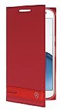 Motorola Moto G4 Plus Gizli Mıknatıslı Yan Kapaklı Kırmızı Deri Kılıf