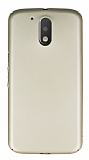 Motorola Moto G4 Plus Tam Kenar Koruma Gold Rubber Kılıf
