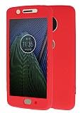 Motorola Moto G5 360 Derece Koruma Likit Kırmızı Silikon Kılıf