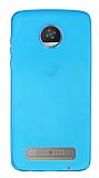 Motorola Moto Z2 Play Ultra İnce Şeffaf Mavi Silikon Kılıf