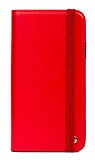 Multi Xiaomi Redmi Note 9 4G Cüzdanlı Yan Kapaklı Kırmızı Deri Kılıf