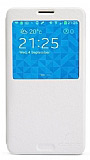 Nillkin Samsung N9000 Galaxy Note 3 Pencereli Kapakl� Beyaz Deri K�l�f