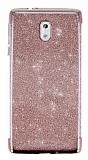 Nokia 3 Simli Rose Gold Silikon Kılıf