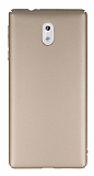 Nokia 3 Tam Kenar Koruma Gold Rubber Kılıf