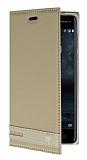 Nokia 5 Gizli Mıknatıslı Yan Kapaklı Gold Deri Kılıf
