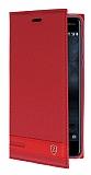 Nokia 5 Gizli Mıknatıslı Yan Kapaklı Kırmızı Deri Kılıf