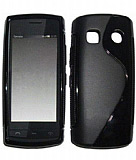 Nokia 500 Desenli Siyah Silikon K�l�f