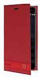 Nokia 6 Gizli Mıknatıslı Yan Kapaklı Kırmızı Deri Kılıf